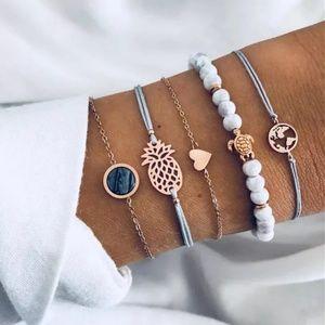 5 Piece Boho Gypsy Charm Bracelet Set